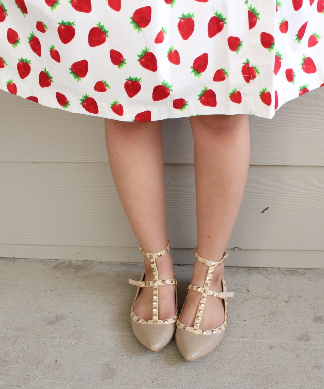 Strawberry Midi Skirt and studded flats | Fashion & Style | Modest | Dressed by Diana