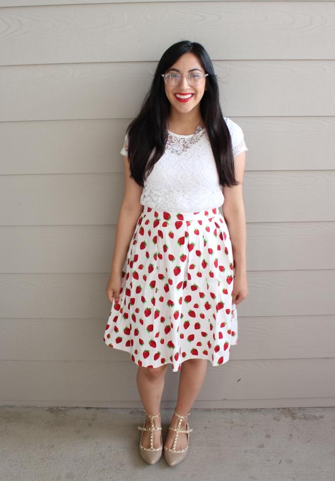 Strawberry Midi Skirt | Fashion & Style | Modest | Dressed by Diana